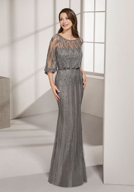 Embellished Grey Tulle Gown