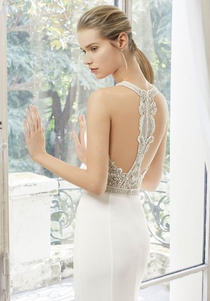 Crepe Wedding Dress with Art Deco Beaded Back