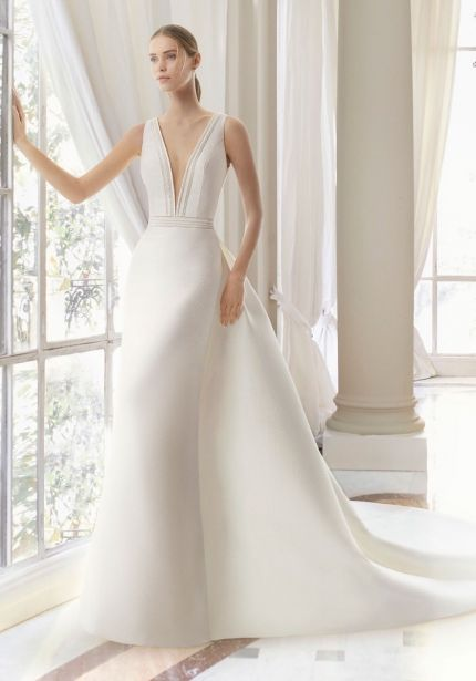 Deep V-Neck Brocade Wedding Dress