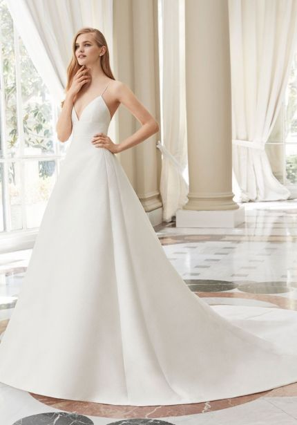Brocade Wedding Dress with Thin Straps