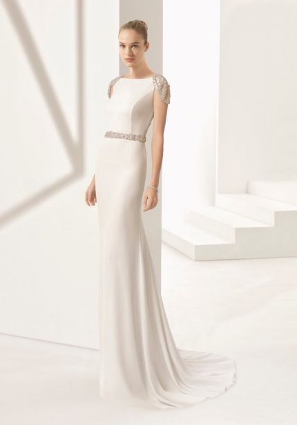 Heavily Beaded Crepe Wedding Dress