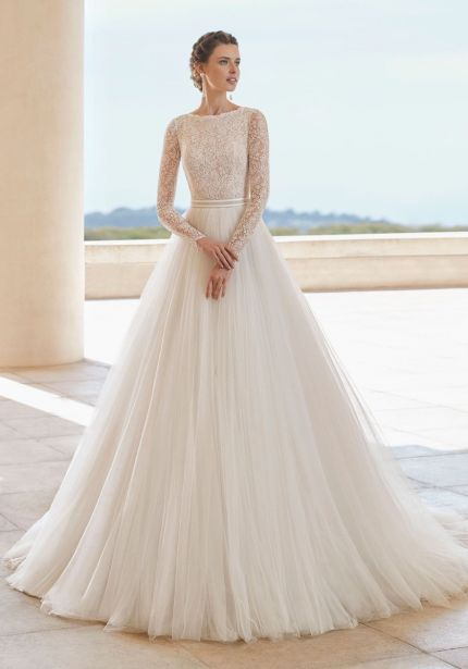 Lace Embroidered Long Sleeves Ball Gown