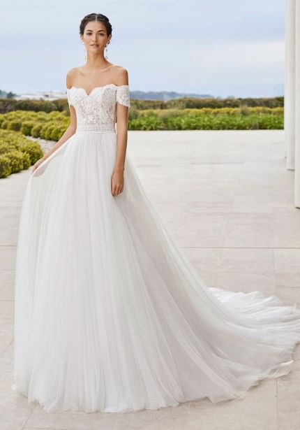 Embroidered Flowing Tulle Ball Gown