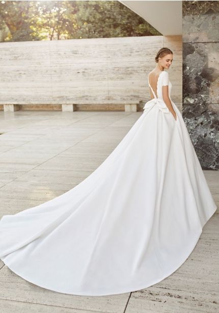 Minimalist Long Train Ball Gown
