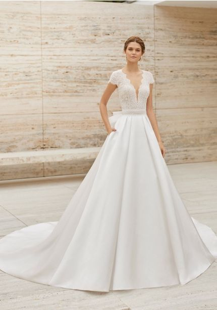Embroidered Ball Gown With Bow Back