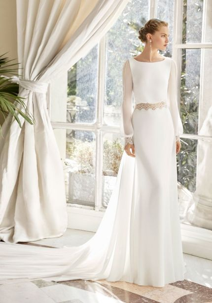 Long Sleeves Georgette Wedding Dress