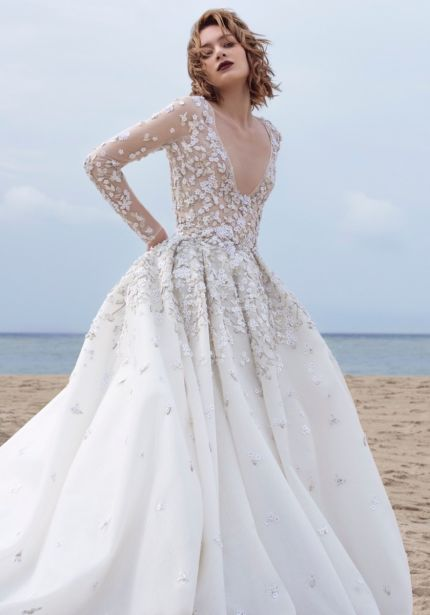 Heavily Beaded Floral Ball Gown