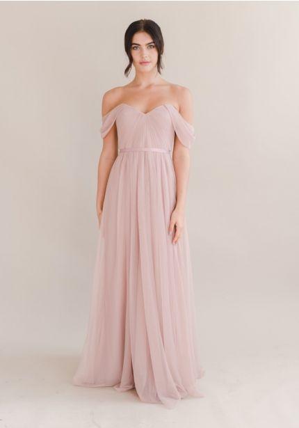 Pleated Blush Pink Bridesmaid Dress
