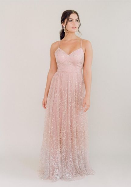 Beaded Ombre Effect Tulle Bridesmaid Dress