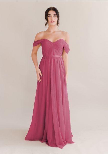 Draped Soft Tulle Bridesmaid Dress