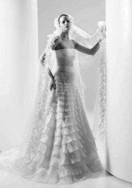 Beaded Organza Tiered Wedding Dress