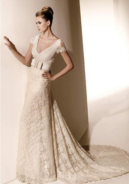 Embellished Lace Wedding Dress with Cap Sleeves