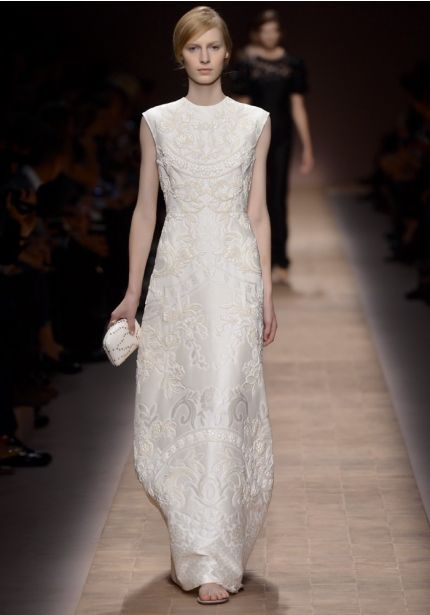 Embroidered Ivory Evening Dress