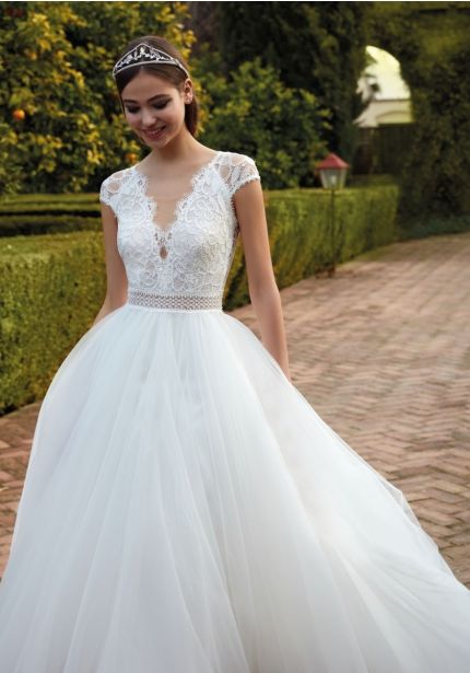Embroidered Tulle Ball Gown