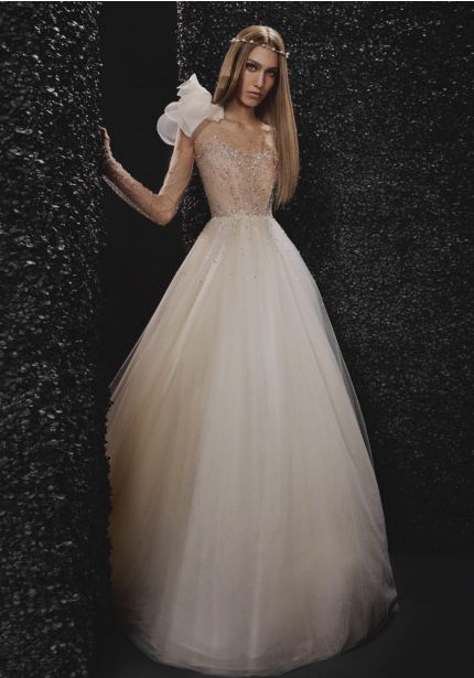 Beaded Long Sleeves Ball Gown