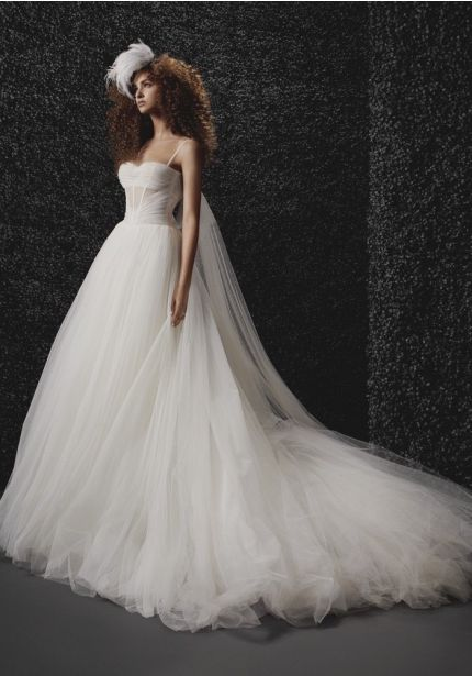 Draped Tulle Ball Gown