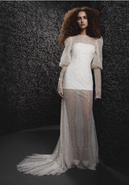 Beaded Puff Sleeves Wedding Dress