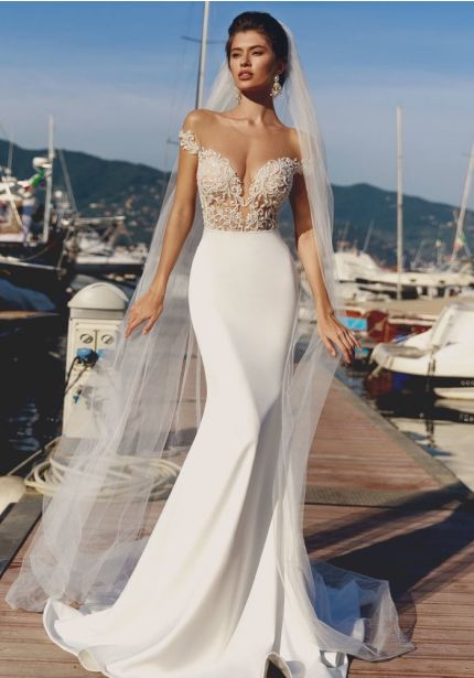 Beaded Crepe Wedding Dress with Open Back