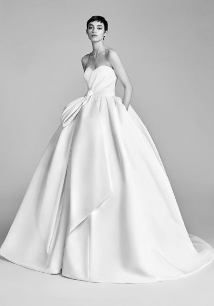 Draped Bow Satin Ball Gown