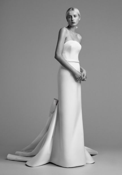 Draped Bow Train Wedding Dress