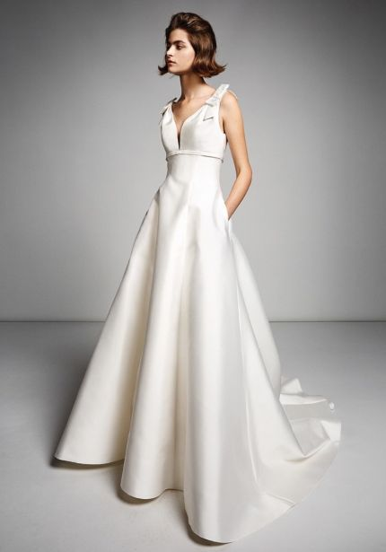 Mikado Wedding Dress with Small Bows