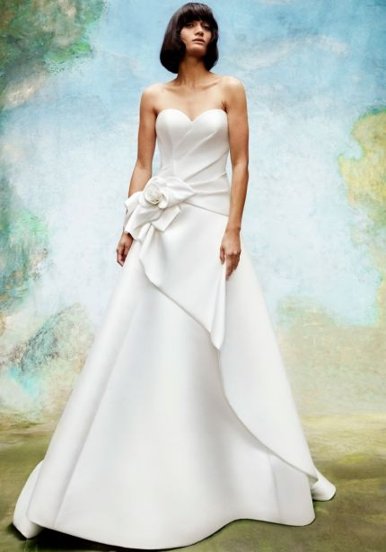 Draped Rose Mikado Wedding Dress