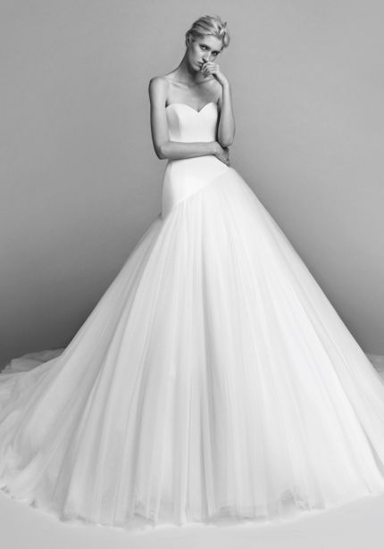 Diagonal Cut Tulle Ball Gown