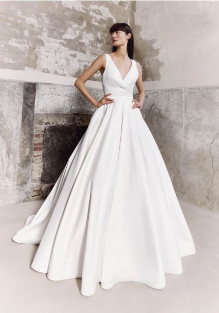 Draped Satin Ball Gown With Bow Back