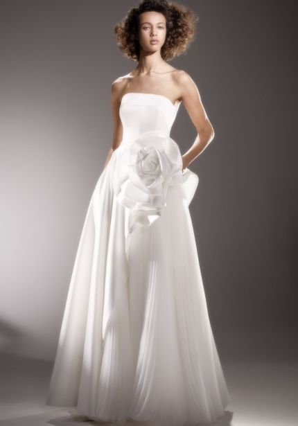 Draped Rose Diagonal Cut Wedding Dress