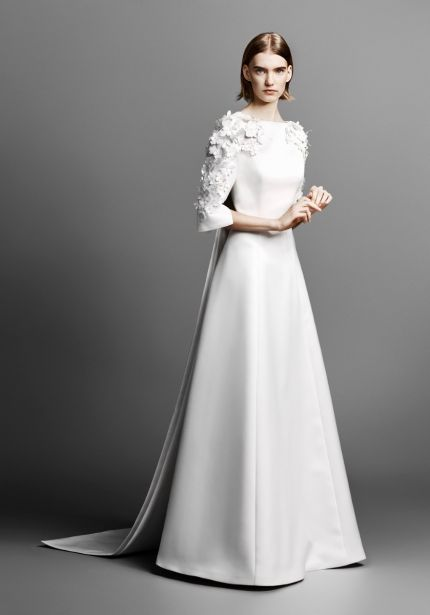 Flower Sleeves Satin Wedding Dress