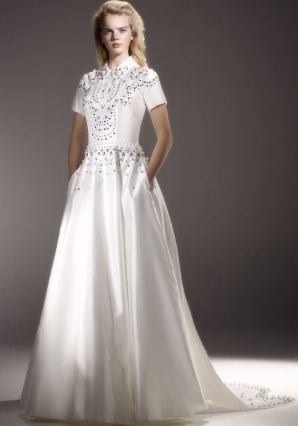 Embellished Mikado Wedding Dress with Sleeves