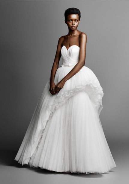 Diagonal-Cut Tulle Wedding Dress