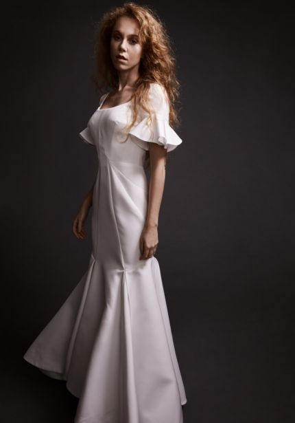 Mermaid Wedding Dress with Ruffle Sleeves