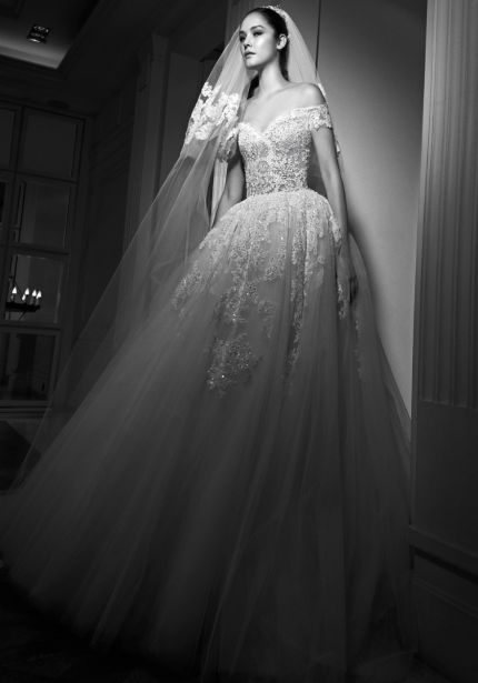 Beaded Off-Shoulder Tulle Ball Gown
