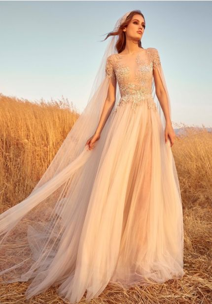 Beaded Soft Tulle Wedding Dress With Cape