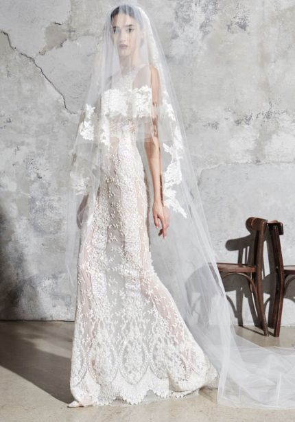 Heavily Beaded Sheer Wedding Dress