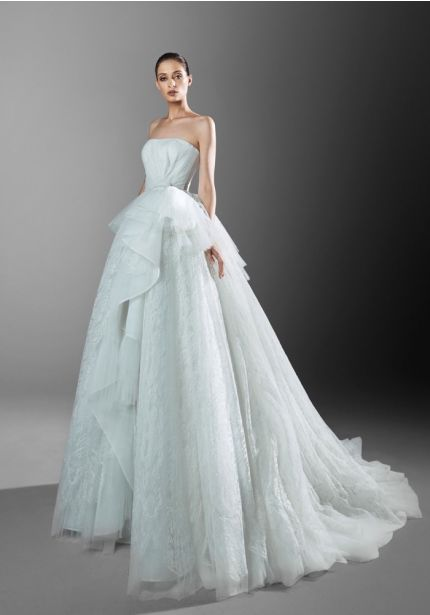 Draped Lace Ball Gown